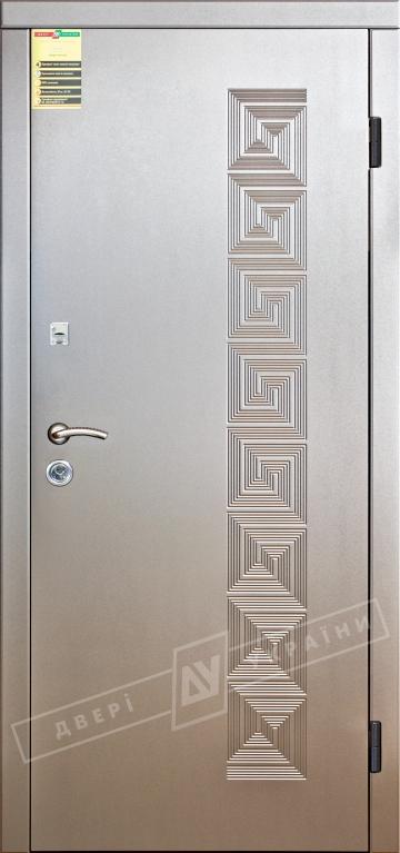 Двері вхідні внутрішні Сіті 11 2050*860мм, модельКаприз Алюміній тиснений 58Т.Арт., праві.