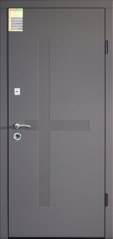 Двері вхідні внутрішні Сіті 11 2050*860мм, модель Лекссофтач елегант сірий HRВ 9377. т, праві.