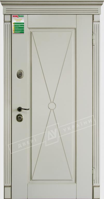 Двери входные серии БС / Комплектация №1 [RICCARDI] / ПРОВАНС 1 Декор / Макиато супермат MAKIATO-02 + ПАТИНА
