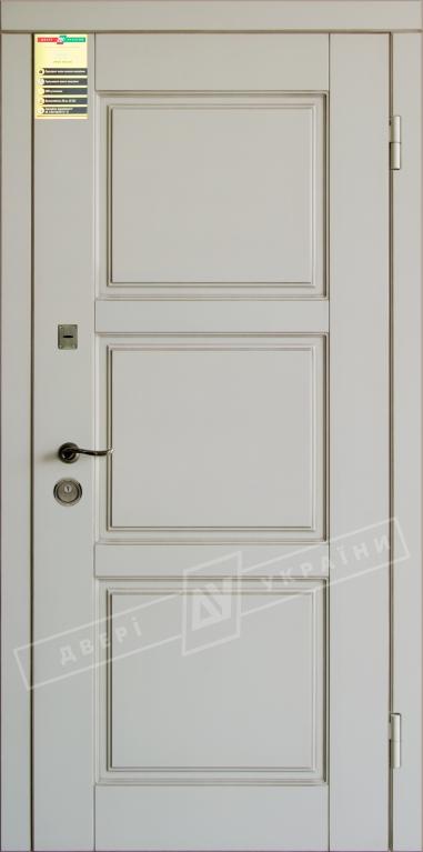 """Двері вхідні внутр, """"Сіті 1/1"""" 2050*860мм, модель """"Прованс 5"""" макіато супермат 02-0,35 Терм, праві."""