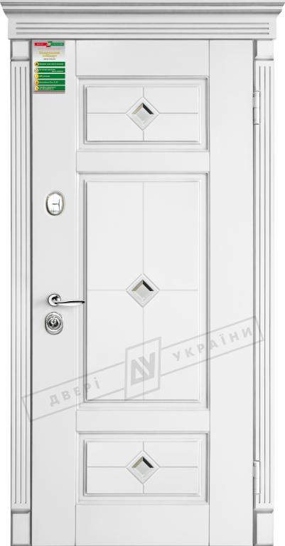 """Двері вхід. внутр""""БС"""" 2/2""""2040*880мм,""""Прованс 4 кристал"""" білий супермат 02.Терм.,праві"""