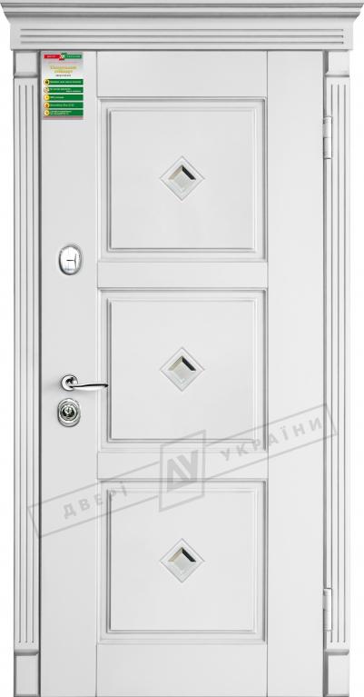 """Двері вхід. внутр""""БС"""" 2/2""""2040*880мм,""""Прованс 5 кристал"""" білий супермат 02.Терм.,праві"""