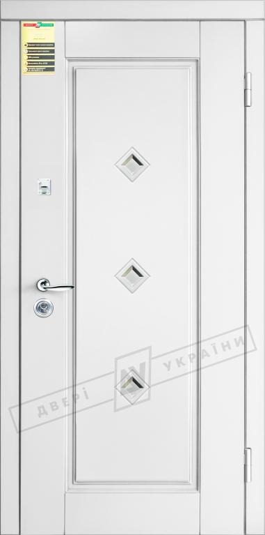 Двери входные серии СИТИ / Комплектация №1 [RICCARDI] / ПРОВАНС 1 Кристал / Белый супермат WHITE_02