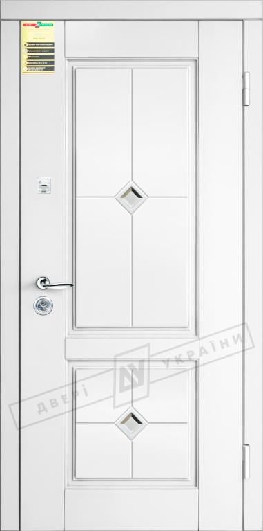 """Двері вхідні внутр, """"Сіті 1/1"""" 2050*860мм,модель """"Прованс 2 кристал"""" білий супермат 02.Терм, праві."""