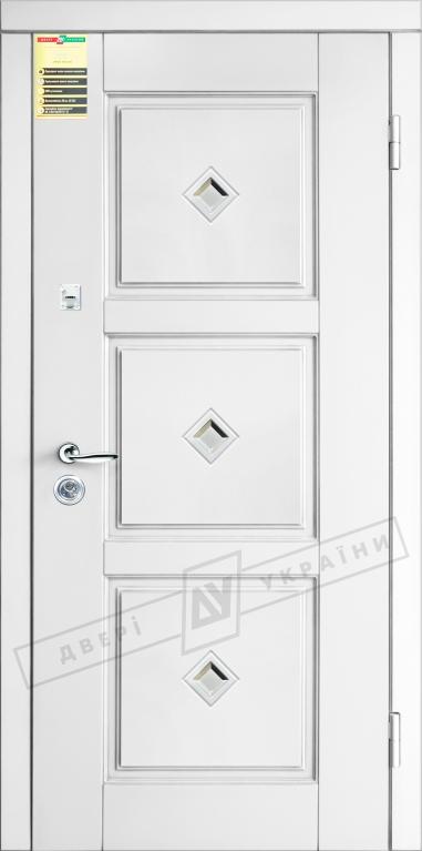 """Двері вхідні внутр, """"Сіті 1/1"""" 2050*860мм,модель """"Прованс 5 кристал"""" білий супермат 02.Терм, праві"""
