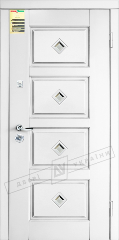 Двери входные серии СИТИ / Комплектация №1 [RICCARDI] / ПРОВАНС 6 Кристал / Белый супермат WHITE_02