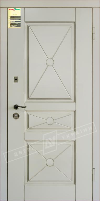 """Двері вхідні внутр,""""Сіті 1/1""""2050*860мм,модель""""Прованс 3 Декор"""" макіато супермат02-0,35 Терм,праві."""