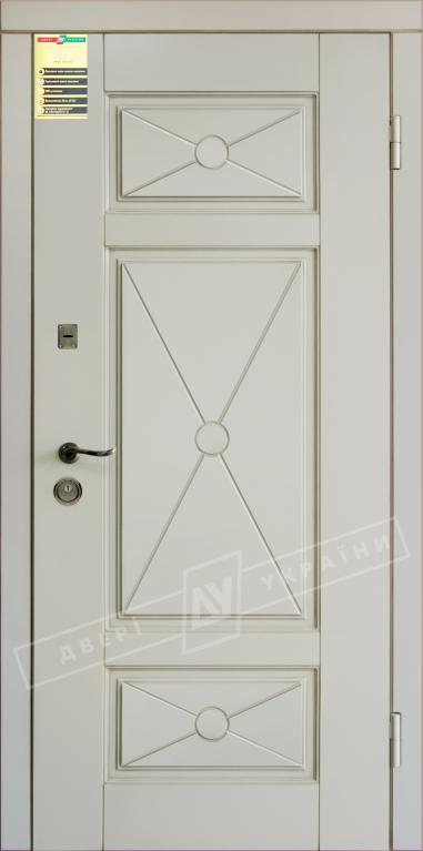 """Двері вхідні внутр,""""Сіті 1/1""""2050*860мм,модель""""Прованс 4 Декор"""" макіато супермат02-0,35 Терм,праві."""