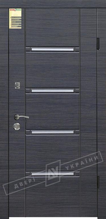 """Двері вхідні внутрішні """"Сіті 1/1"""" 2050*860мм, модель """"Стиль"""" венге сірий горизонт 288Т, праві."""