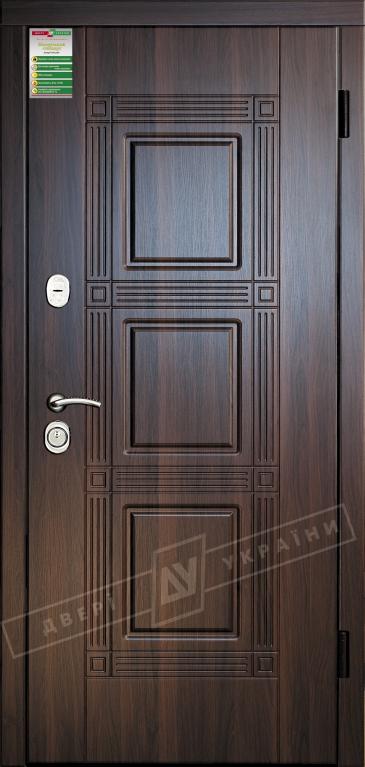 """Двері вхідні внутрішні""""Білоруський стандарт 2/1""""2040*880мм,""""Троя"""" горіх темний МВР 68Т.Арт.,праві"""