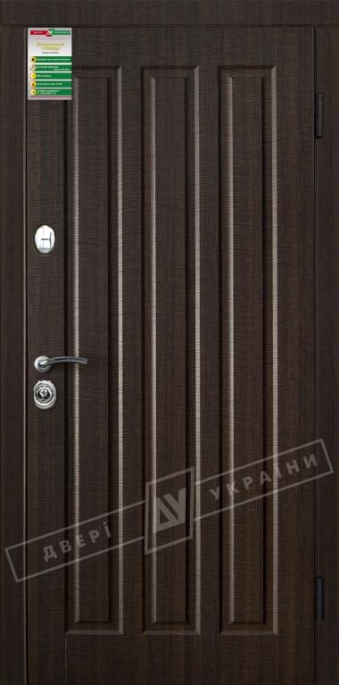 """Двері вхідні внутрішні""""Білоруський стандарт 2/1""""2040*880мм,""""Трояна""""венге темний розпил 2415Р,праві"""
