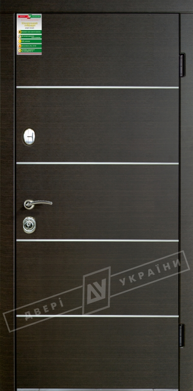 """Двері вхідні внутрішні""""БС 2/1""""2040*880мм,""""Турін декор"""" венге южне МВР1998-10,праві"""
