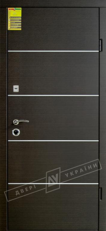 """Двері вхідні внутрішні """"Сіті 1/1"""" 2050*860мм, модель """"Турін декор"""" венге южне МВР1998-10, праві."""