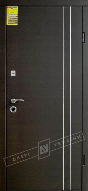 """Двері вхідні внутрішні """"Сіті 1/1"""" 2050*860мм, модель """"Вєна декор"""" венге южне МВР1998-10, праві."""