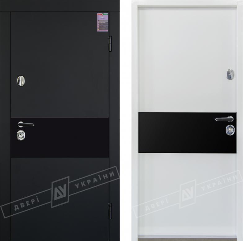 """Двери входные серии """"ИНТЕР 6"""" / Комплектация №1 [KALE] / ART GLASS 1 чёрное стекло / Чёрный софттач RB5013UD-B10-0,35 / Белый супермат WHITE_02"""
